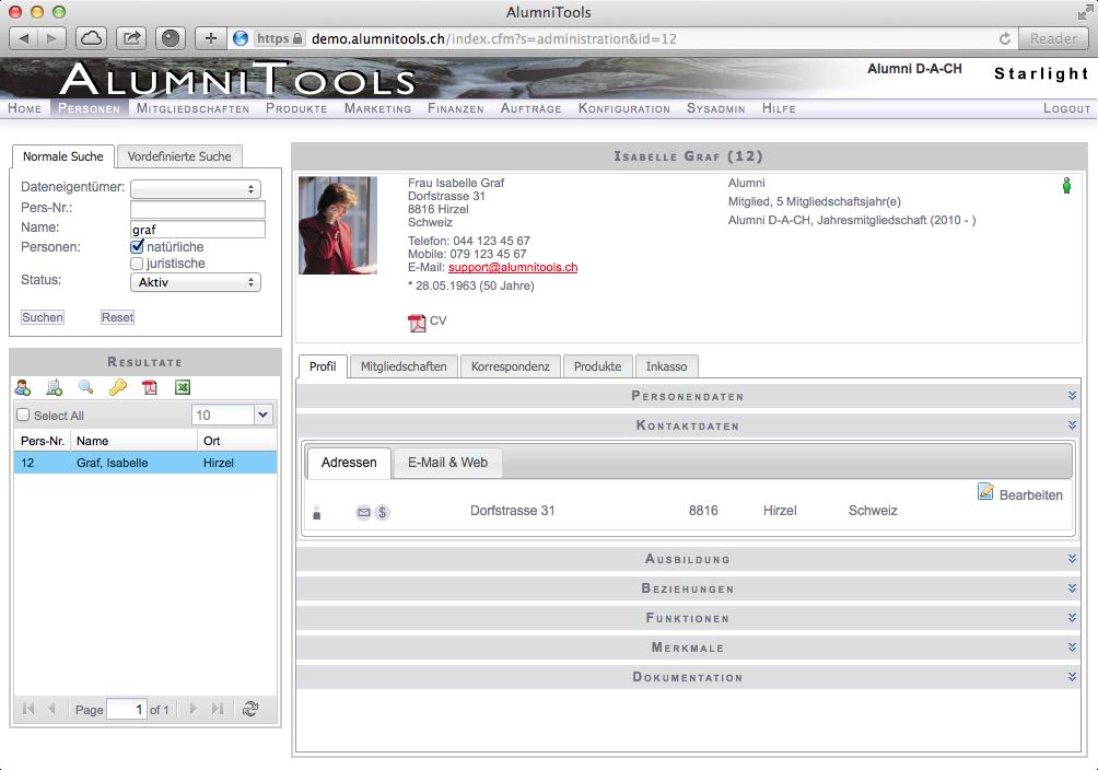 Personenverwaltung (AlumniTools Administration)