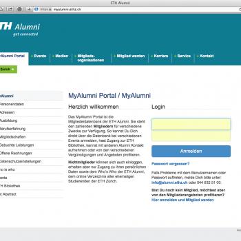 Startseite Alumni-Portal (ETH Alumni Vereinigung)