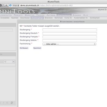Konfiguration/ Einstellungen (AlumniTools Administration)