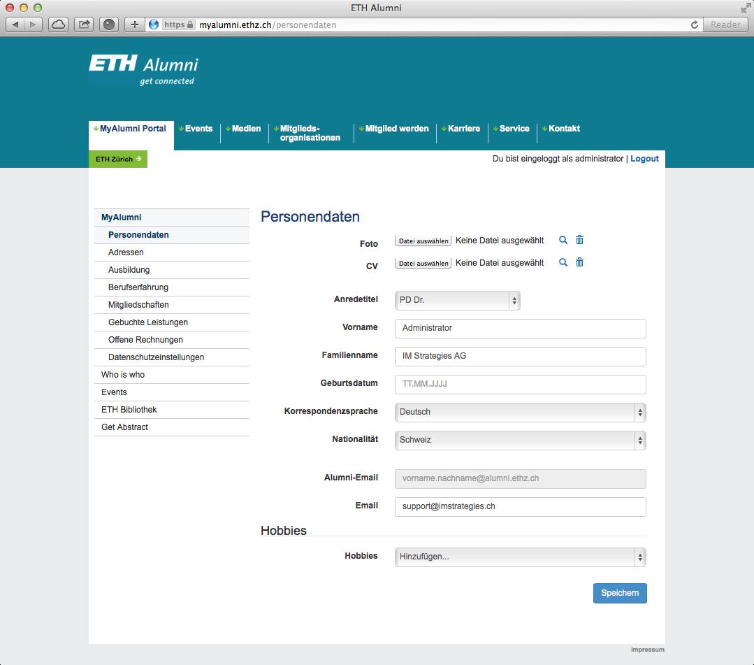 Personendaten (Portal der ETH Alumni Vereinigung)