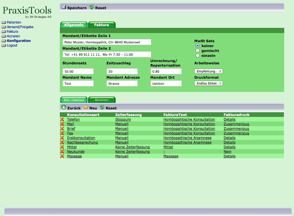 Konfiguration von PraxisTools