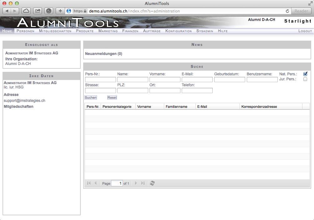 Startseite (AlumniTools Administration)