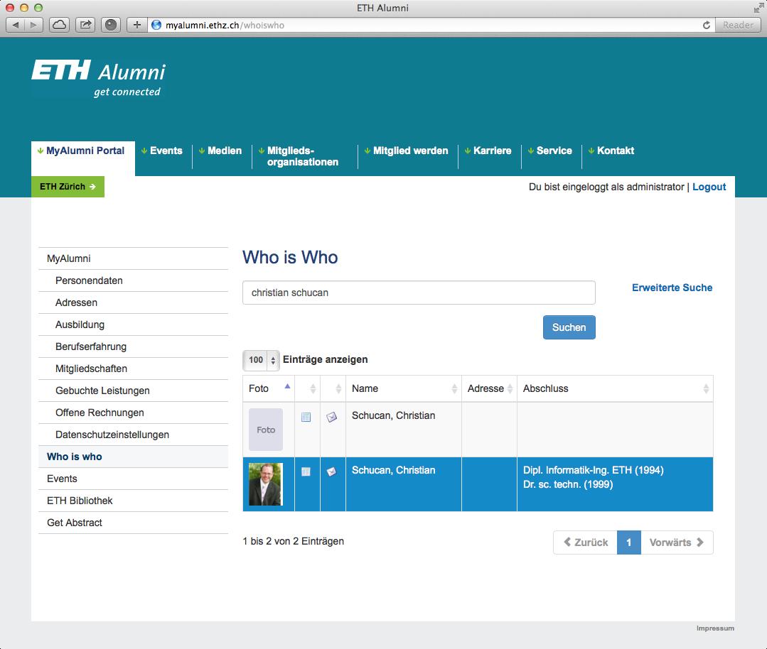 Who is who (Portal der ETH Alumni Vereinigung)